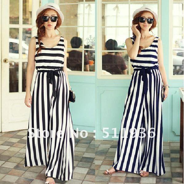 Fashion Womens Stripe Loose