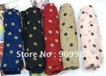 lady's fashion printed chiffon polka dot pashmina wrap popular long scarf/shawls/scarves.10pcs/lot 170*70cm