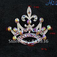 P233-232 3PC/Lot Silver Metal Rhinestone Crystal Fancy Fine Nice Fashion Costume Crown Jewelry Brooch
