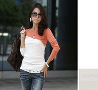 Cheap price,Free shipping,2012 Women's T-Shirt Splice Casual Round Neck Long Sleeve T-Shirt 5 Colors,X2490