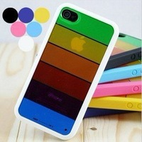 Rainbow case for iphone 4 /4s, Silicone+PC Case Colorful Hard Phone Case with Retail Package 10pcs/Lot Free Shipping