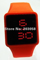100pcs/lot Free shipping LED watch digital display touch screen watch silicon band new design high quality