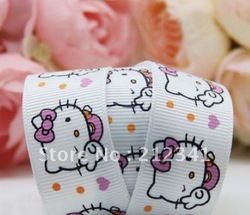 Free shipping 7/8'' Cartoon hello kitty ribbon Printed Ribbon Grosgrain ribbon(China (Mainland))