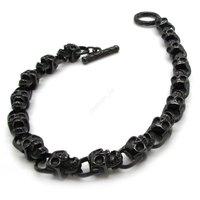 Mens Gothic Black Skull Bracelet New Men's Boy's Fashion Cool Biker Stainless Steel Charm Jewelry