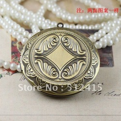 hot sales circle vintage bronze Photo Locket charms pendant double the same diy handmade findings(China (Mainland))