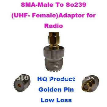 SMA-Male to So239 UHF-Female  Adaptor for Two way Radio