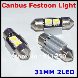 wholesale High Quality 31mm 2SMD 5050 LED C5W Canbus Festoon License Plate Light (white) metal shell 1 year warranty(China (Mainland))