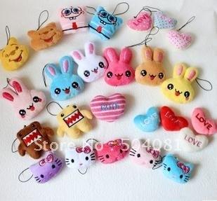 size 2'' Hello kitty/Domo KUN/bunny/heart/spongebob Cellphone wipe/cartoon Strap Mobile/bag Pendant/Gift Novelty Toy for weeding