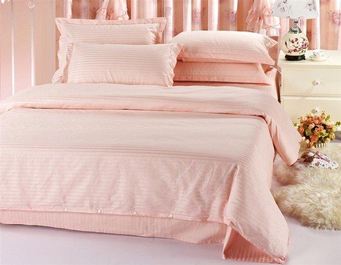 Free shipping 100 cotton pale pink 4pcs cotton hotel bedding set