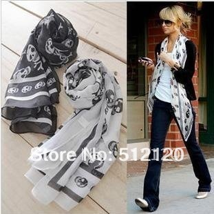 Free shipping 10pcs/lot Fashion Cotton Black Skull chiffon Scarf ,Ladies' Beautiful Scarf,Skeleton Head Scarf christmas gift(China (Mainland))