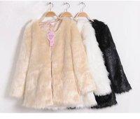 W316 New  Long Fashion Coat Black white beige Faux fur Fair coat Korean Style Outwear