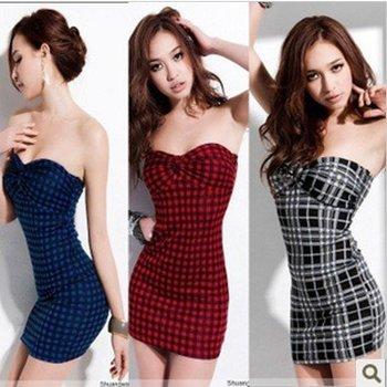 Dew Shoulder Sexy Plaid Short Dress Night Club Fashion Women Backless Cotton Casual Dresses Blue/Red/Black Free Shipping Sheath