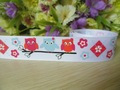 "party-ribbon wholesale free shipping 7/8"" owl flowers grosgrain ribbon,22mm printed ribbon white  50yards"