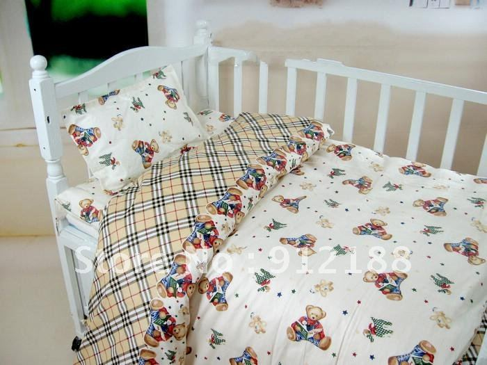 2012 newest 100% cotton child bedding sets&quot;Happy Bears&quot;cute pattern child crib set manufacturer in China(China (Mainland))