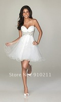 Luxurious Sweetheart Sparkling Beads/Appliques Tulle Mini/Short White Homecoming Dress
