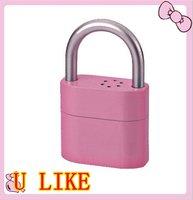 free shipment  2 pcs electroplate alarm padlock for door and bicycle  door padlock