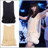 Free Shipping Tassel stereo chiffon petal elegant slim fashion sleeveless one-piece dress