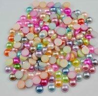 5mm Mix Colors 5000pcs  ABS Half Round Loose Pearls Flat Back DIY Garment Beads Nail Art Phone Decoration , scrapbooking DIY