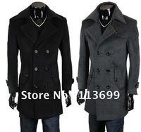 Free shipping fashion men's outwear, men's Cashmere dust coat,slim style men's wind coat,grows in double platoon to buckle coat