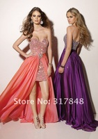 2012 free shipping stunning beautiful pop trend dress beaded lace chiffon straight wih long train prom evening dresses ED05