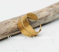 Min.order 15$ mix   Golden FEATHER Ring Romantic Vintage Style Leaf Autumn Bird