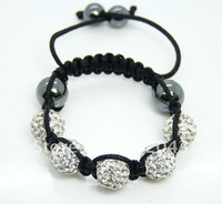 wholesale white  crystal clay  bracelets(mixed order is available) with hematite