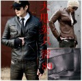 2011 fashion zipper epaulette slim short design leather clothing High quality