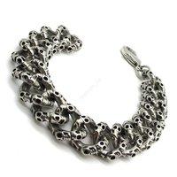 15mm PUNK Men's Ettin Skull Bracelet Bangle Fashion Goth Stainless Steel Black Biker Jewelry