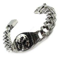Sale Promotion Fashion Jewelry PUNK Men's Black Curb Twist Chain Pirate Skull Bracelet&Bangle Rock Stainless Steel Men Jewelry