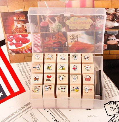 free shipping Wooden cartoon pig cute stamper vintage Antique Stamp seal ink 20PC/set diary carved decro DIY gift craft toy(China (Mainland))