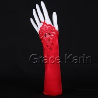 Free Shipping 10pcs/lot GK Red Evening Party Prom Bridal Wedding Fingerless Gloves CL3125