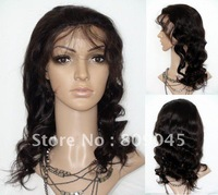 (free shipping + top quality )2# 18inch body wave Remy 100% indian human wigs full lace wig glueless Wig bw025