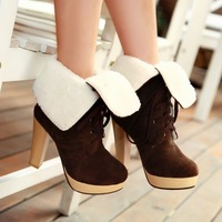2013 New Style sexy high quality suede ankle boots women shoes winter high heel boots woman THSJKL- 659
