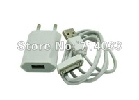 Free shipping Brand New white EU USB Wall Home Charger AC Adapter + white USB cable for Apple  iphone 4 ipod Ipad