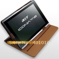 New standing sleeve leather cover case for Acer lconia Tab A500 10.1 free shipping by air mail ED424