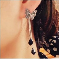 Free Shipping 3pairs/Lot New Fashion Rhinestone Bow Butterfly Long Earrings Z-G503876EE5498A