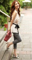 Free Shipping  Leisure Fashion Bowknot Embellished Pure Color Seven Pants Grey&amp;Green