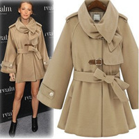 Free shipping-2012 winter double breasted overcoat with a hood cloak cape woolen trench outerwear women