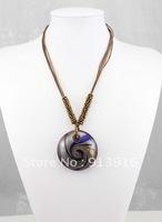 1pcs Wholesale mix color Fashion handmade gold dust Art round thread beads baroque Lampwork murano glass pendant necklce jewelry