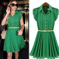 Discount Free Shipping 2013 Women's Fashion New Designer Brand A-line Hot Sale Green Pink Chiffon Dress with Belt JB1045