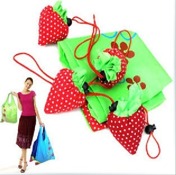 Hot Selling Strawberry Eco Recycle Eco Reusable Folding Tote Shopping Bag, 100pcs per lot, Color Assorted