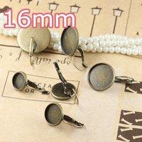 100pcs 16mm Antiqe Bronze Copper Earring Hook cameo,Brass stud earrings accessories,earrings base setting