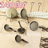 100pcs 14mm Antiqe Bronze Copper Earring Hook cameo,Brass stud earrings accessories,earrings base setting