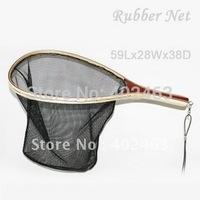 High quality wooden frame nylon net landing net with bottom ruler FL-04  fly fishing / fishing  wood / rubber net, 59L*28W*38D