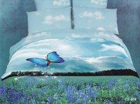 blue lavender bedding sets queen size 4pcs Butterfly duvet/comforter cover bed sheet set bedclothes cotton home textile