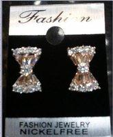 hot sell on ebay orange Platinum Plated fashion lovely bowknot of clear CZ zircon stud women's earrings 387598435
