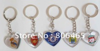 Mixed-order plastic soccer keychains,PVC heart football keyring,30pcs