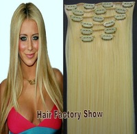 "High Quality 130g/7pcs/20"" Heat Resistant Hairpieces Clip in Hair Extensions Synthetic Hair #613/144 Highlight Blonde Hair"