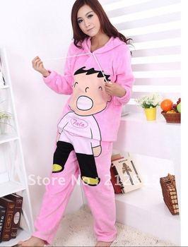 Envío libre división de dibujos animados pijamas Siamese señora encantadora ropa polar de coral pijamas en casa clásico mobiliario