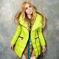 Free shipping ELF SACK winter raccoon fur with a hood belt slim down coat